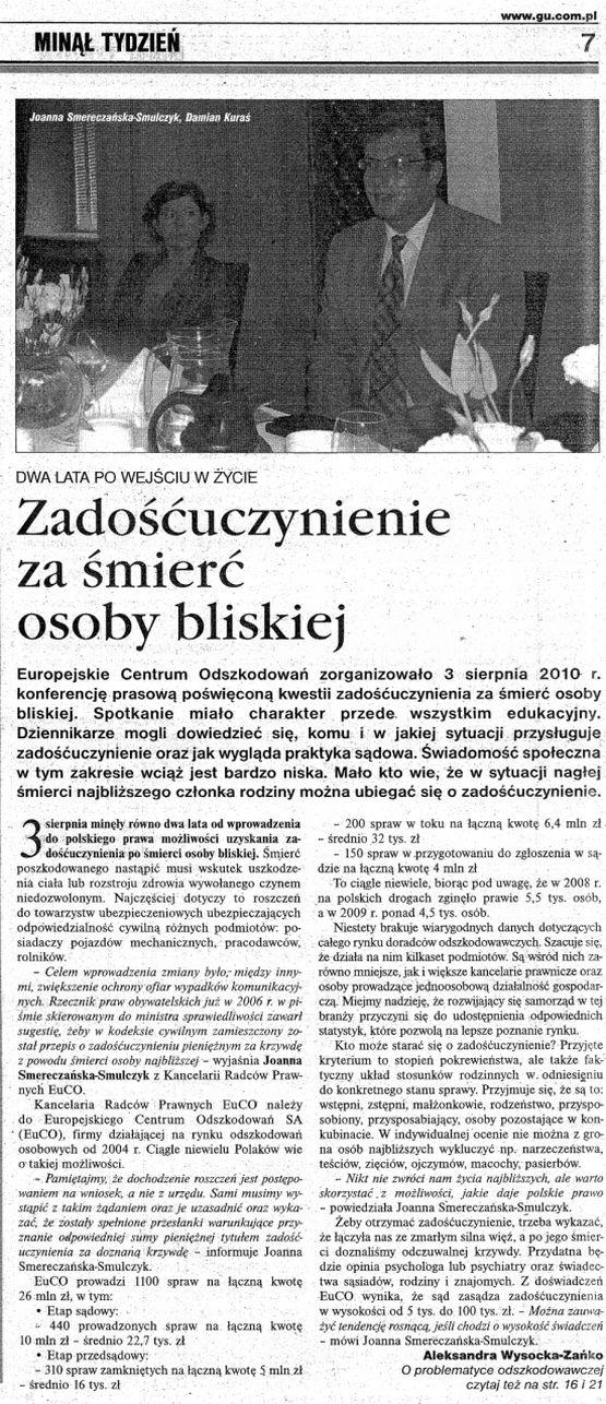 zadościuczynienie za śmierć osoby bliskiej - konferencja euco